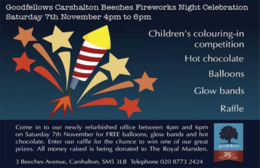 Carshalton Fireworks 2015 – Saturday 7th November