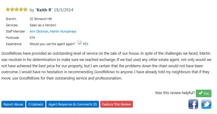 Great testimonial for Goodfellows Stonecot Hill