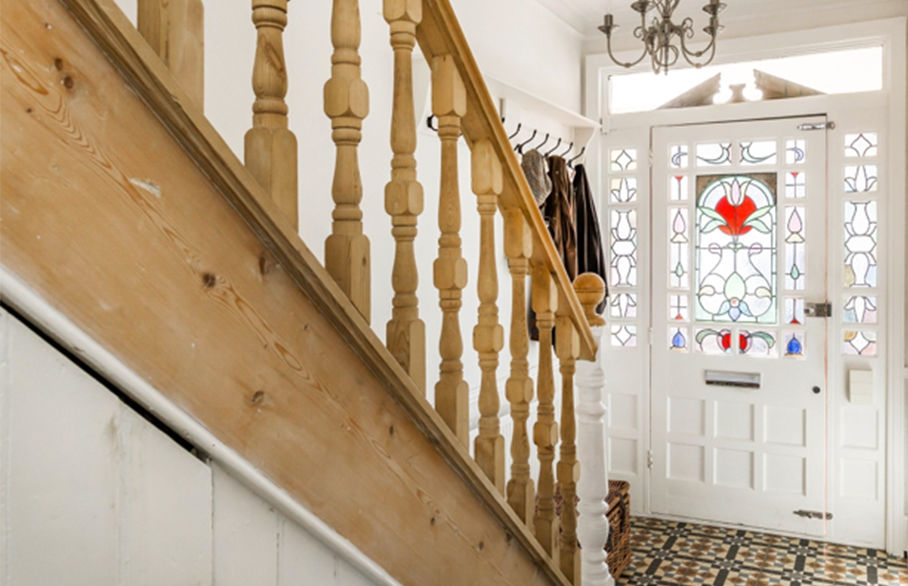 Eclectic flooring in this beautiful Surrey home