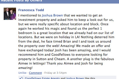 Great testimonial for Josh and Aimee at Goodfellows Cheam Village