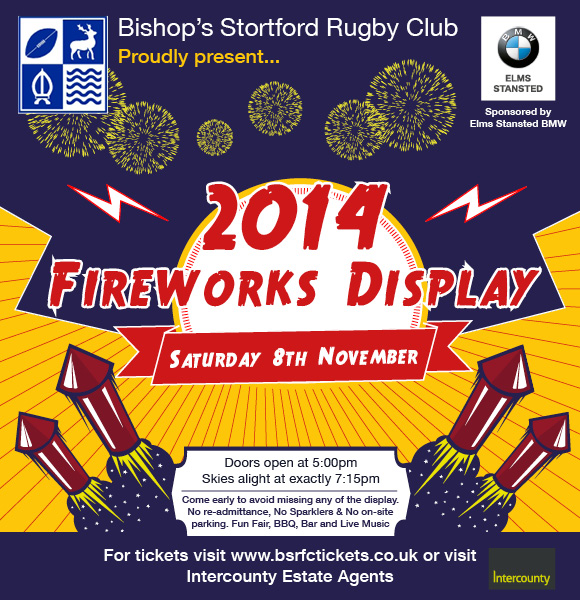 Buy Your Bishop's Stortford Rugby Fireworks Display Tickets From Our Bishop's Stortford, Sawbridgeworth And Stansed Offices!