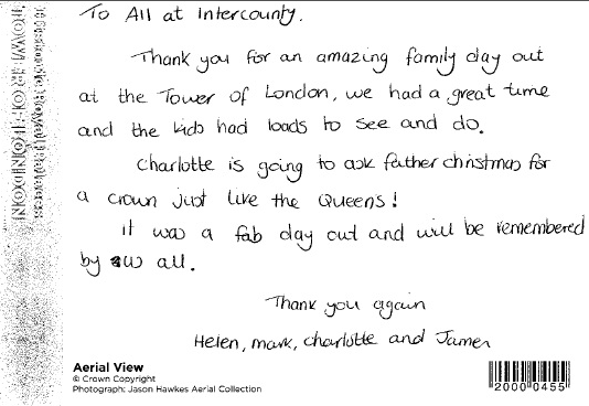 Thank You Post Card From Our 'Right Royal Day Out'