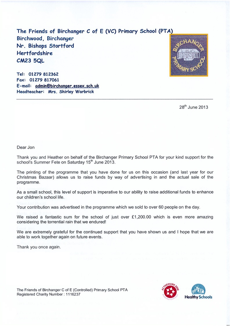 Great Thank You From Birchanger Primary School