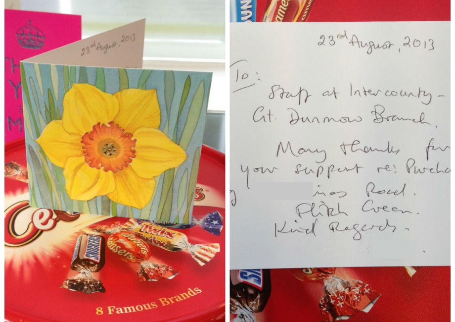 Nice Card And Sweets Sent To Gt Dunmow By A Happy Buyer