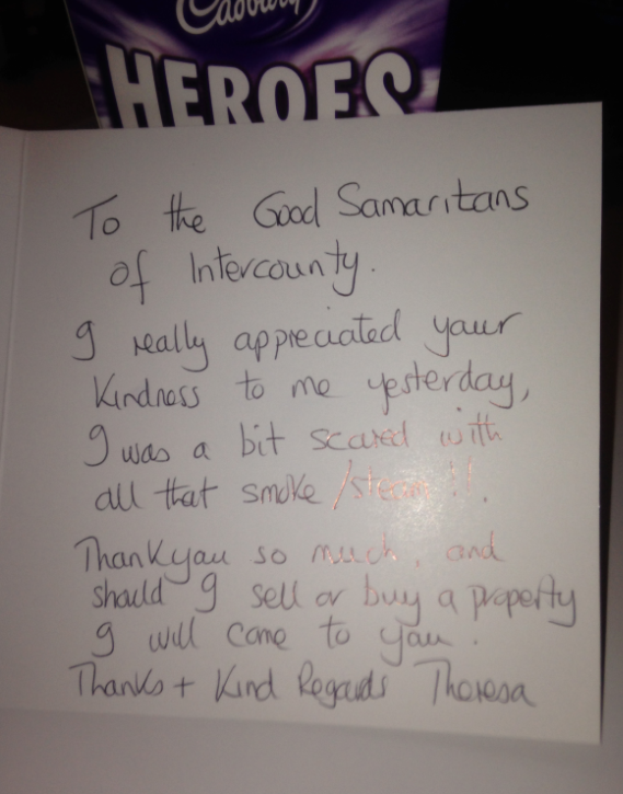Lovely Card And Chocolates Sent To Intercounty Sawbridgeworth