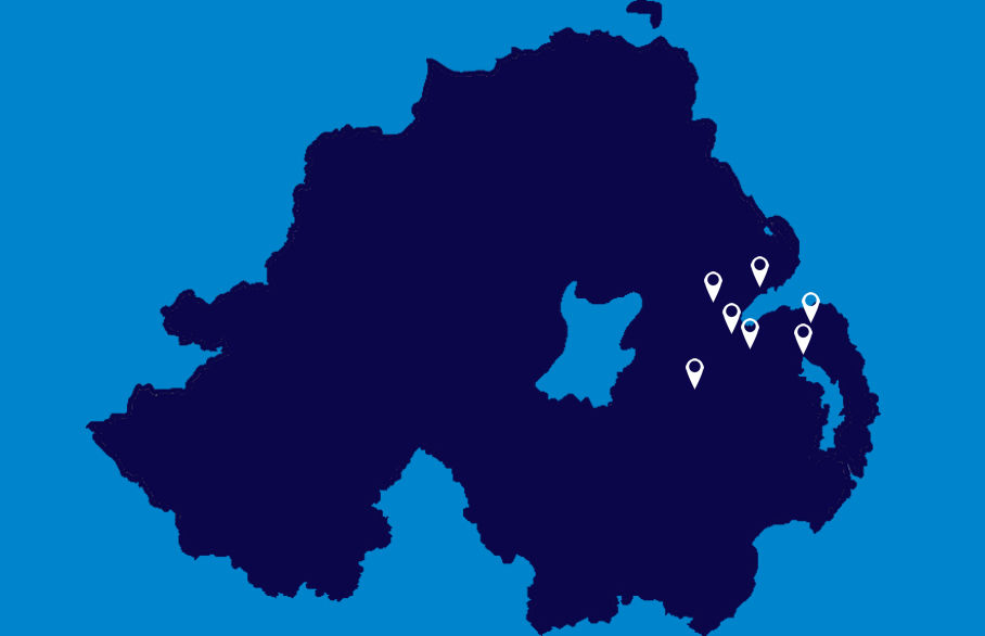 Map of Northern Ireland and Reeds Rains branches